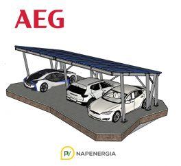 Fedje be cége parkolóját AEG napelemekkel, pályázati forrásból!